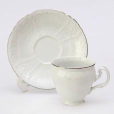 ЛЕФ0515/ЧЕХ Чашка с блюдцем Деколь,отводка платина 140мм