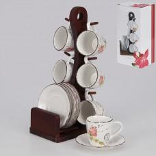 IM15-0002 Набор кофейный 12 предметов с деревянной подставкой 100 мл.