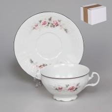 ЛЕФ1884/ЧЕХ Чашка с блюдцем 250 мл низкая; декор Бледные розы, отводка платина