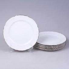 03626 Набор тарелок 21 см. 6 шт. Бернадотт Белый узор Белый