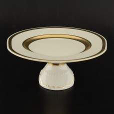 15646 Тарелка для торта 32 см на ножке Crem Gold