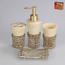 IM99-2321 Набор для ванны 4 предмета: дозатор, подставка для зубных щеток, стакан, мыльница