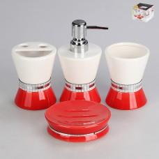 IM99-2312 Набор для ванны 4 предмета: дозатор, подставка для зубных щеток, стакан, мыльница
