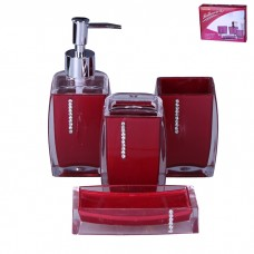 IM99-2374 Набор для ванны 4 предмета: дозатор, подставка для зубных щеток, стакан, мыльница