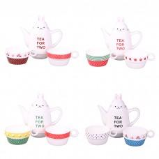 IM99-0545 Набор: чайник, чашка 2 шт., 500 мл. 8,5*22 см. 4 вида
