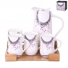 IM99-5256 Набор чайный на 4 персоны 6 предметов (Чайник, поднос, кружки - 4 шт.)