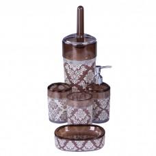 IM99-2336 Набор для ванны 5 предметов: дозатор, подставка под зубные щетки, стакан, мыльница, ершик для унитаз