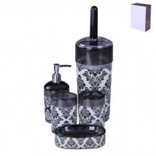 IM99-2338 Набор для ванны 5 предметов: дозатор, подставка под зубные щетки, стакан, мыльница, ершик для унитаз