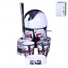 IM99-2342 Набор для ванны 6 предметов: дозатор,подставка под зубные щетки,стакан,мыльница,ершик, ведро
