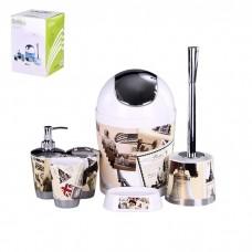 IM99-2343 Набор для ванны 6 предметов: дозатор,подставка под зубные щетки,стакан,мыльница,ершик, ведро
