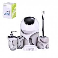IM99-2344 Набор для ванны 6 предметов: дозатор,подставка под зубные щетки,стакан,мыльница,ершик, ведро