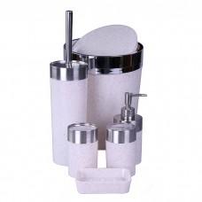 IM99-2349 Набор для ванны 6 предметов: дозатор,подставка под зубные щетки,стакан,мыльница,ершик, ведро