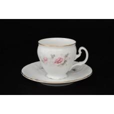 12262 Набор кофейных пар 170 мл Бернадотт Серая роза золото (6 пар)
