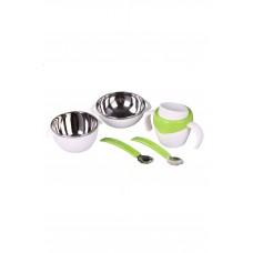 IM99-0343/зеленый Набор детский 6пр зеленый (миска-2 шт,поильник,крышка,ложка,вилка)