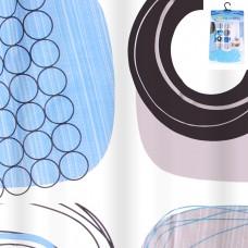 IM99-5610/6 Штора для ванной комнаты с крючками 190*200 см.(синие полосы)