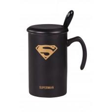 IM99-0536/1 Кружка с крышкой и ложкой 350 мл. (7*11 см.) Супермен