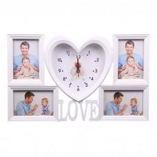 IM99-4118 Фоторамка с часами сердце