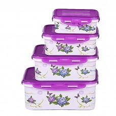 IM99-1405/фиолет Набор контейнеров прямоугольных 4 пр.(2900 мл, 1850 мл, 1100мл, 680 мл)