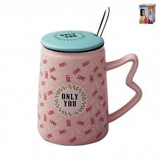 IM99-0557/розовый Кружка с ложкой и крышкой ONLY YOU 350мл ONLY YOU