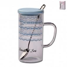 IM99-0561/синий Кружка с ложкой и крышкой SEA 350мл Sea Синий