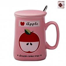 IM99-0558/яблоко Кружка с ложкой и крышкой ФРУКТЫ 350мл