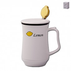 IM99-0556/лимон Кружка с ложкой и крышкой ФРУКТЫ 350мл