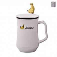 IM99-0556/банан Кружка с ложкой и крышкой ФРУКТЫ 350мл
