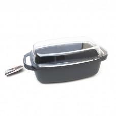 84107 Литой алюминевый противень с покрытием Teflon Platinum Plus в комплекте стеклянная крышка 32*21см TAURUS
