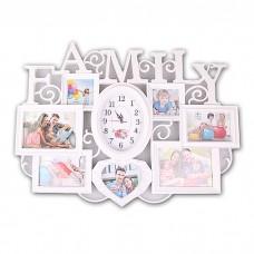 IM99-4153 Коллаж для 7 фото с часами l=68см h=51см w=6см Family